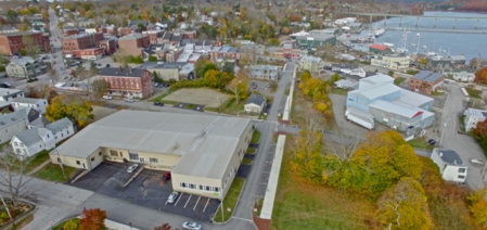 Aerial view of Farmers Market of Belfast Maine